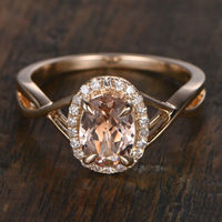 6X8MM OVAL CUT MORGANITE AND DIAMOND ENGAGEMENT RING 14K YELLOW GOLD HALO TWISTED SPLIT SHANK