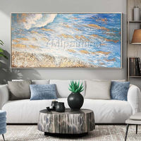 Gold art Abstract Acrylic painting on canvas Original art blue painting texture large wall Picture home Decor caudro abstracto hand painted $161.25