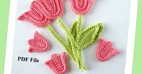 Crochet Pattern Tulip with Stem and Leaf by GoldenLucyCrafts, $3.80