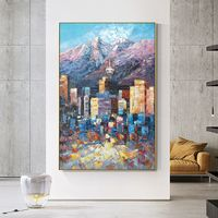Vancouver Canada skyline oil framed walll art paintings on canvas original art Cityscape Palette knife heavy texture painting wall pictures $123.75