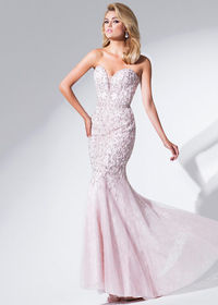 2015 Light Blush Strapless Beaded Sheer Insert Prom Dress