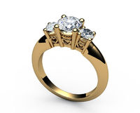 18K Heart Filigree 3 stone Engagement Ring Milgrain Ring Simulated Diamond Solid Gold Ring $595.00