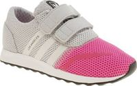 Adidas Pink Los Angeles Girls Toddler Even the littlest of feet can jump on board the retro running trend as adidas downsize the Los Angeles for kids. Arriving in pink and grey, this man-made profile features hook-and-loop fastening strap http://www.compa...