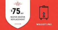 Score $75 off a water heater replacement.