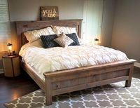 Farmhouse King Bed - knotty alder and grey stain   Do It Yourself Home Projects from Ana White