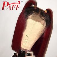 PAFF Short Bob Ombre 99J Lace Front Human Hair Wigs with Baby Hair 130% Density Two Tone Red Burgundy Color 13*3.5 Lace Wig $306.00