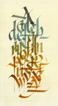 Artist: Dennis Goddard London, ON, Canada   Original calligraphy of the 26 Latin letters in the western alphabet. Hand rendered on hand made Italian water colour paper   10 x 18 inches