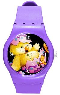 Easter, Charming Chicks and Eggs Girls or Womens Purple Plastic Watch $26.99