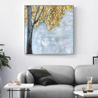 Original Tree acrylic paintings on Canvas heavy texture Abstract extra large painting Gold leaf Wall Pictures Home Decor cuadros abstractos $104.70