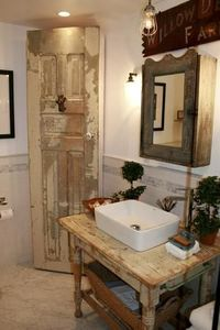 """""""Farmhouse chic"""" bathroom Love the sink, medicine cabinet and the old door for the linen cabinet."""