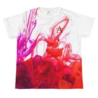 Purple and Red Ink Pool on White All-over youth T-shirt $25.00
