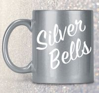 Christmas holiday coffee mug silver bells tea cup christmas in july $24.95