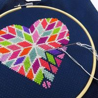 Looking for a romantic Valentines Day counted cross stitch pattern? This geometric heart cross stitch is full of color and has a modern design that will give cross stitch love to your wall this February. With 12 DMC floss colors, it's a heart xstitc...