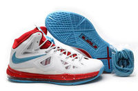 Nike Air Max LeBron 10(X) White/Blue/Sport-Red James Sneakers