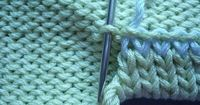 """Live stitches from the last row of a sleeve for a folded / turned hem on the WS: sewing tidily & nicely. => grafting to row ~~ Use for collar / neck: [https://www.pinterest.com/pin/460563499370455756/] ~~ """"подке�'лева�'�&#..."""