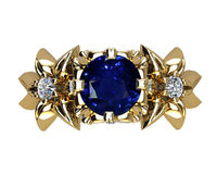 Filigree ring Gold ring Art Nouveau unique Engagement ring Solid Gold Sapphire ring Flower design in Yellow gold $1714.00