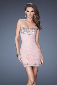 Fitted Beaded Pink Bust Blush Sexy Short Prom Dresses Cheap