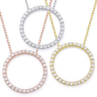 Eternity Circle Cubic Zirconia CZ Crystal Pendant & Chain Necklace in .925 Sterling Silver - SGN-CL002-SL