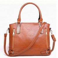 Women Vintage Buckled Zippered Tote Shoulder Bags Crossbody PU Leather $51.03