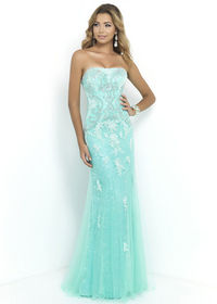 Spearmint Crystal Beads Appliques Evening Gown