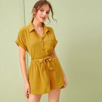 Roll Up Sleeve Blouse With Belt Paper Bag Shorts $62.50