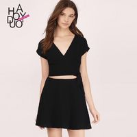 Sexy Hollow Out Slimming Low Cut Crossed Straps Summer Dress - Bonny YZOZO Boutique Store