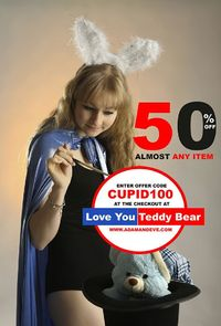 I Love You Teddy Bear discount coupon by adamandeve.com. Enter offer code CUPID100 at the checkout to get 50% off, free romance kit and free discreet shipping
