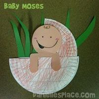 Baby Moses in a Paper Plate Basket Craft for Sunday school made by a followers from www.daniellesplace.com