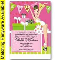 Pink Banner Baby Shower Invitations