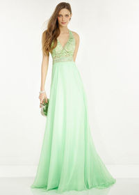 Chic Honeydew Embroidered Plunging Halter Top Open Back Prom Dress