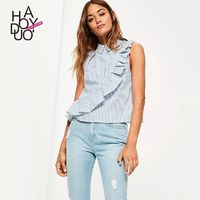 Vogue Simple Asymmetrical Frilled Sleeveless Stripped Summer Blouse - Bonny YZOZO Boutique Store