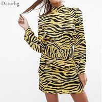 Women New Sexy Ladies' Dress Fashion Slim Long-sleeved Back Hollow Out Dress Women's Casual Tiger Print Dresses Deturbg Dr331 $16.62
