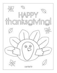 Free printable Thanksgiving coloring page from Carter's. #CartersHoliday