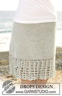 "Crochet DROPS skirt with wide fan patterned border in �€Cotton Viscose�€. Size S �€"" XXXL ~ DROPS Design"