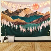 Sevenstars Mountain Tapestry Forest Tree Tapestry Sunset Tapestry Nature Landscape Tapestry Wall Hanging for Room(51.2 x 59.1 inches) $28.49