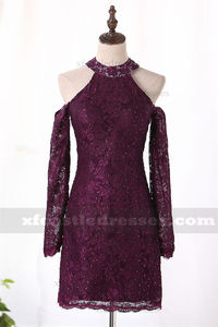 Long Sleeve Lace Short Tight Homecoming Dress Cold Shoulder