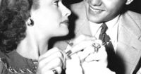 Lucy with knitting, and Desi in 1941