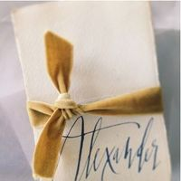 velvet ribbon and calligraphy place setting | revel blog