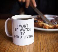 Tv lovers gifts i want to watch tv for a living cup coffee or tea mug for television bingers $19.95