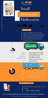 Small Removals Melbourne offers relocation services. Relocate your #furniture at low prices. Moreover, we will offer you professional removalists as well as full protection and insurance services. https://www.singhmovers.com.au/small-removalists-melbourne