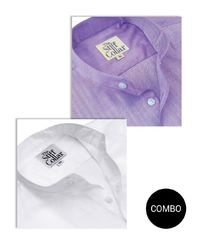 Lavender and White Herringbone Mandarin Collar 2 Ply Cotton Shirt Combo �'�2999.00