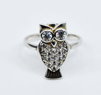 Vintage Sterling Silver and Zirconia Owl Ring - Charming, Sparkling and Delightful - US Size 7.5 $56.00