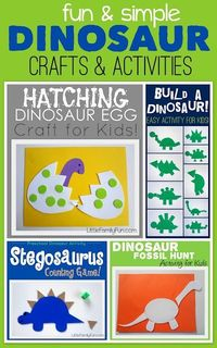 Fun and simple Dinosaur crafts & activities for kids!