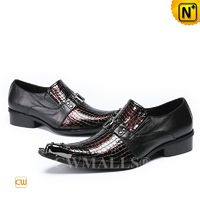 CWMALLS® Paris Men Embossed Leather Slip On Loafers CW708202 [Patented Product, Personalized Gift]
