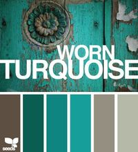 """Wondering what colour to have your doors? Check out colour palette boards like this one """"worn turquoise"""""""