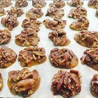 Chewy pralines if you cook them the second time to 230 degrees instead of 242 like the recipe suggests