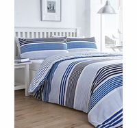 Bhs Painterly blue stripe reversible bedding set, Tonal blue painterly stripe reversible printed bedding set. Our essentials printed bedding range is now made using a new and improved quality 50/50 polycotton as well as becoming better value.Fibre Co http...