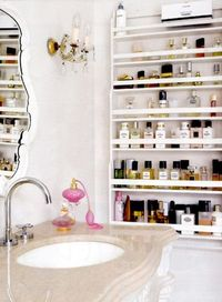 Spice rack shelving in bathroom! Awesome! I want this!