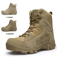 Army Boots Military Boots Men Tactical Boots Zip Army Tactical Desert Combat Boots Safety Shoe Snow Leather Winter Autumn Brown $52.80