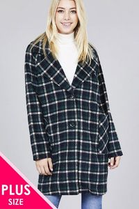 20% discount with BESTDEAL at checkout! Long Sleeve Notched Lapel W/pocket Heavy Plaid Long Jacket $22.50